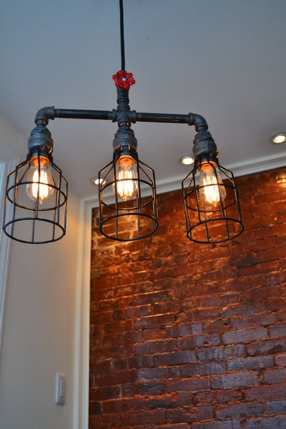 Hanging Triple Industrial Pipe Light [ Edison Bulb Included ] (on Etsy) - To hang over staircase  West Ninth Vintage