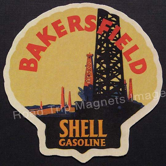 Shell gasoline 1920 travel decal magnet bakersfield accurate reproduction s travel decal art