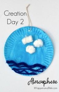 Creation Day 2 Atmosphere or Sky Craft | Use inexpensive craft supplies to create a fun activity for the second day of creation. Great for Sunday School, VBS, or children's church