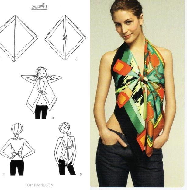 Astuce pour porter un haut confectionné avec un foulard, accessoire femme, Foulard as summer top, style