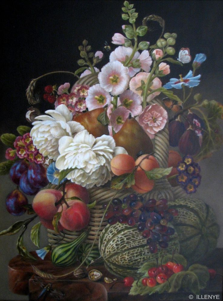 "JEANNE ILLENYE - Still Lifes: ""ABUNDANCE"" HAPPY THANKSGIVING large classical still life oil painting fruit flowers basket marble table"