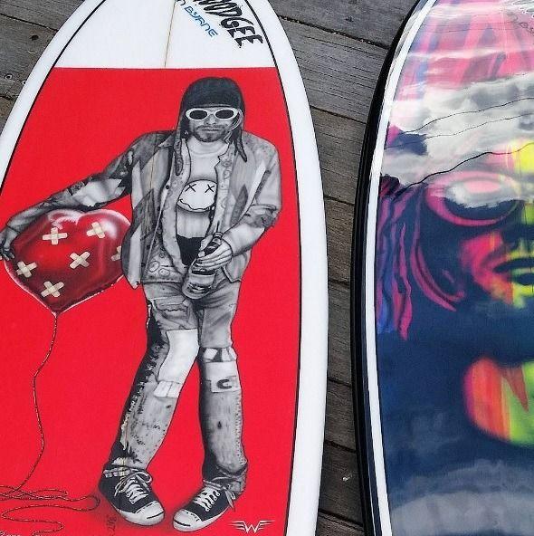 Kurt Cobain SurfBoard Art by Willy N