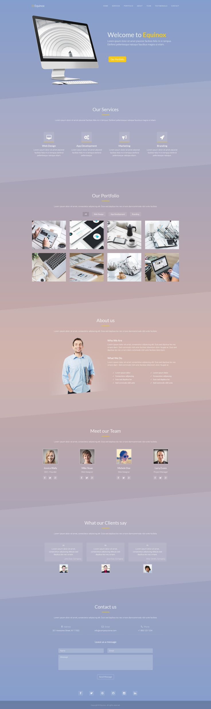 Equinox - One Page Creative Template