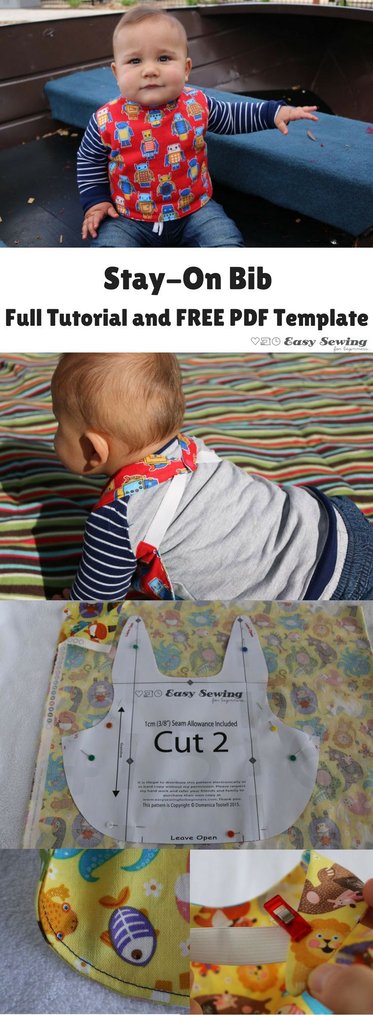 Stay-On Bib with full tutorial and FREE medium PDF template | Easy Sewing for Beginners