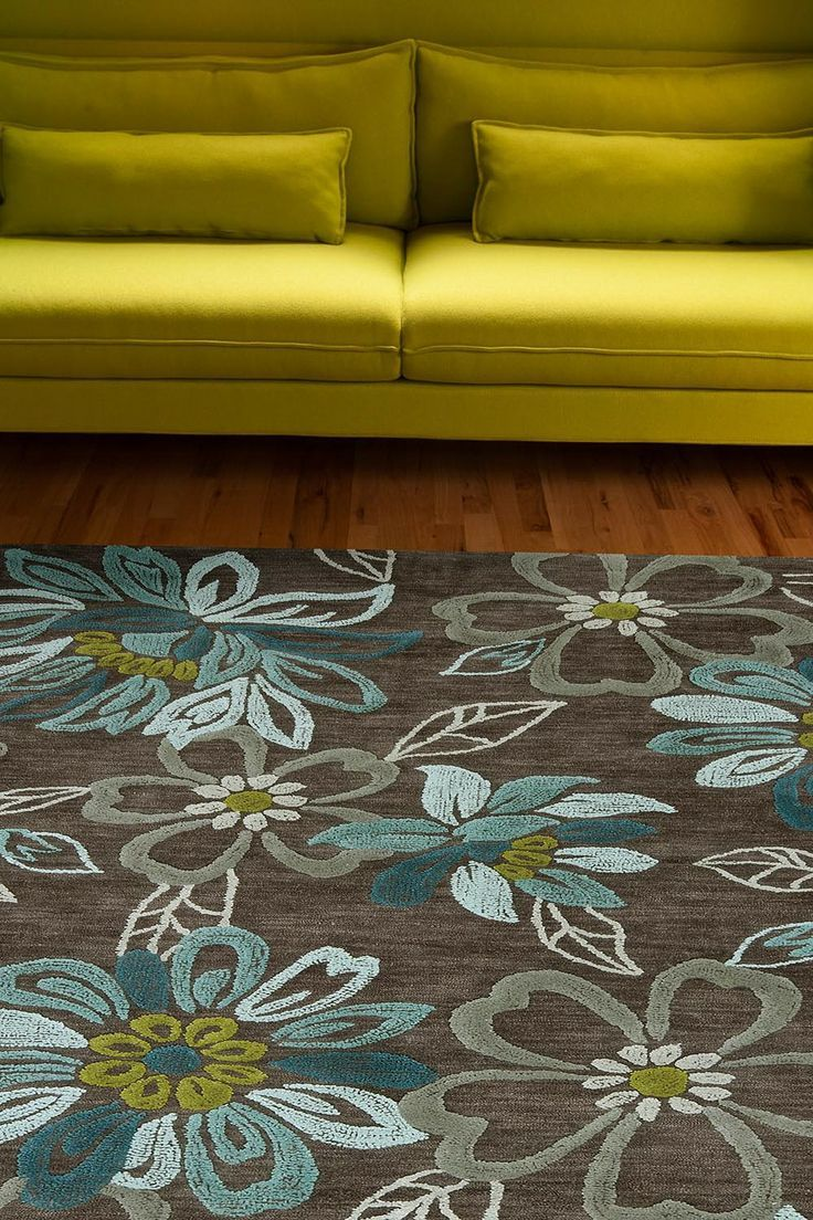 Brown And Lime Green Rug With Images