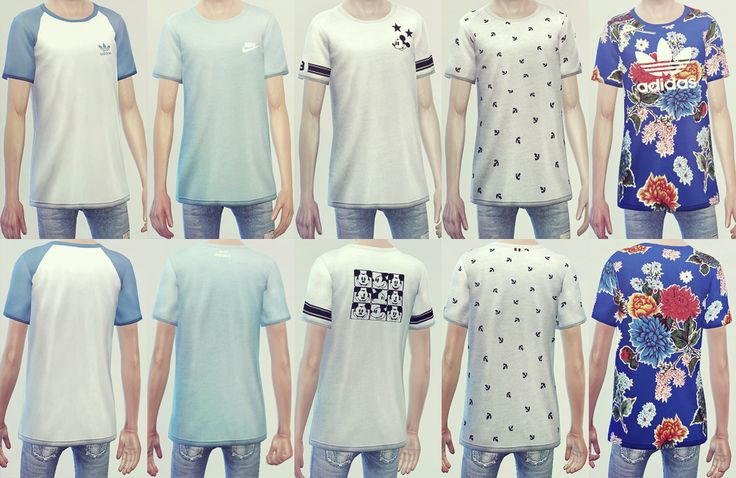 """TS4 KK Loosefit T-Shirts 10Set • T-E (male) • EA Mesh & Texture edit / bumpmap complete • Custom thumbnails """"TOU Do not re-upload or re-edit. All my CC. Do not claim to own. Do not direct download..."""