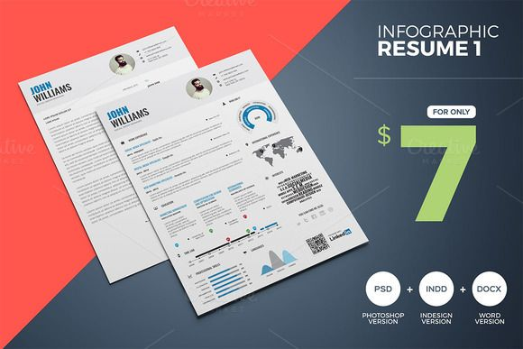 Infographic Resume - Word & InDesign by PAUL on Creative Market