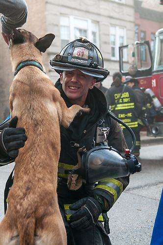 "David Eigenberg (""Herrmann"") gets an enthusiastic greeting from a furry friend on 'Chicago Fire' 