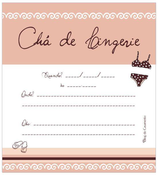 Convite para chá de lingerie - 3 modelos para baixar