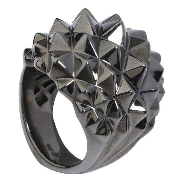 Stephen Webster Superstud Black Rhodium Studded Dome Ring (1.370 BRL) ❤ liked on…