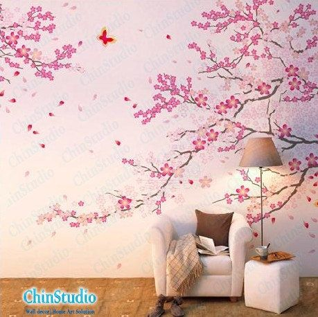 Cherry blossom tree wall decals with butterfly wall stickers home decor-Romantic Cherry blossom tree wall arts. $48.00, via Etsy.