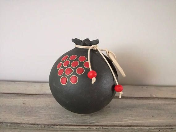 Ceramic pomegranate lucky pomegranate in dark grey with red