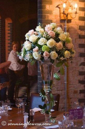 .Hotel Du Vin - table centre flowers Henley on Thames www.sonningflowers.com