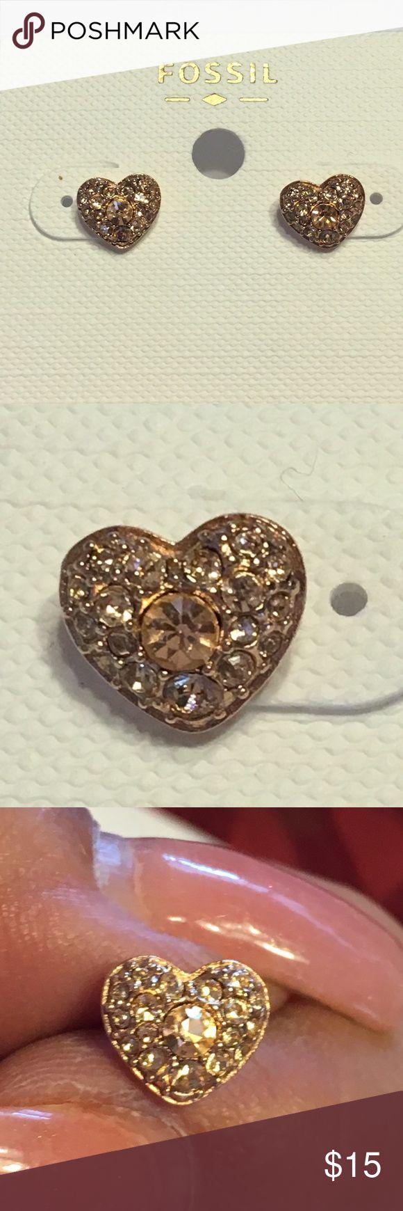 Fossil rose gold heart earrings Dainty rose goldtone heart stud earrings. Fossil Jewelry Earrings