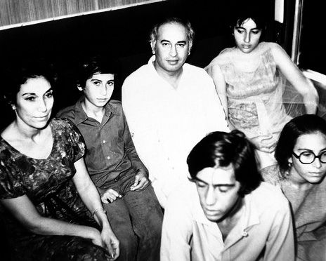 A Happy Family Shattered.  Zulfikar Ali bhutto with his wife and childrens.