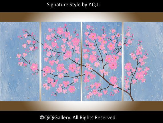 "Original Large OIL Landscape Painting Flowers Tree Thick Textured Canvas Fine art ""Misty Blossom"" by qiqigallery on Etsy, $385.00"