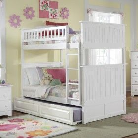 White Classic Beadboard Bunk Bed ♥ Discover the season's newest designs and inspirations by Rosenberry. | Visit us at http://kidsbedroomideas.eu/ #furnituredesign #kidbedroom #kidsroom #kidfriendly #bedroomdecor
