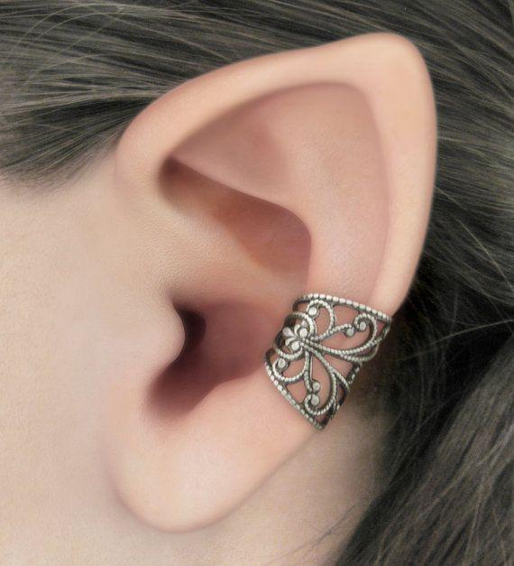 Soft Whispers  Silver Filigree Ear Cuff by RavynEdge on Etsy
