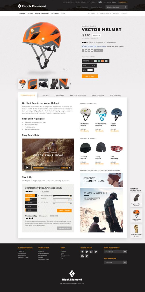 Black Diamond Website Pitch by Ryan Mendes, via Behance