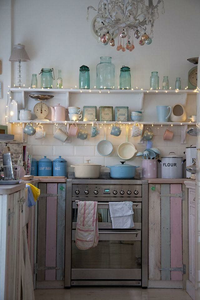 Pastel kitchen, love the lights