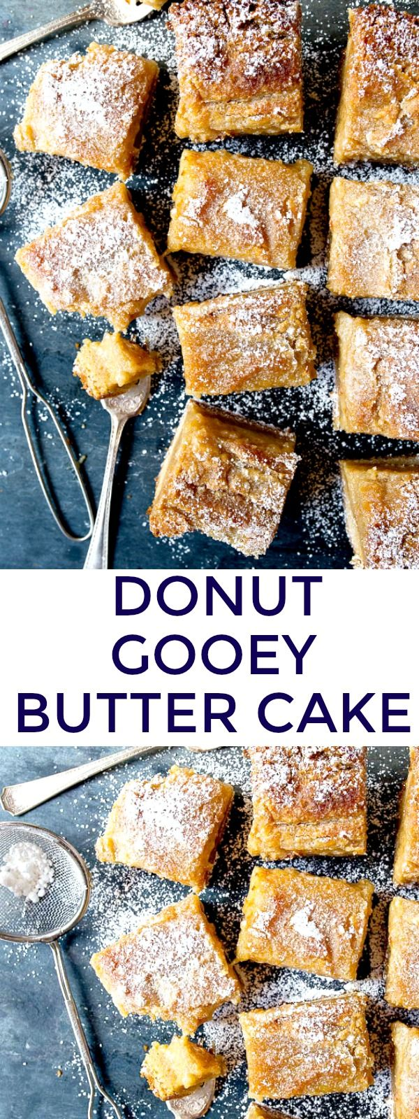 """Gooey butter cake from scratch without a cake mix! Made in a small 8x8"""" pan. Tastes like the best glazed donuts. Seriously!"""