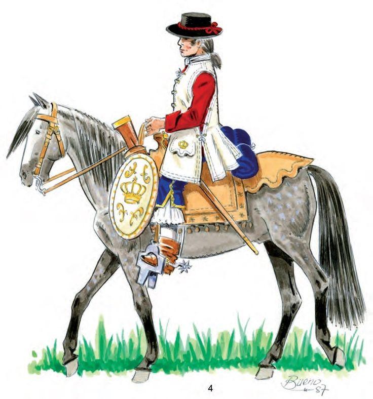 Dragones de Cuera de Vieja California 1767 a caballo. Cuera y adarga en cuero blanco