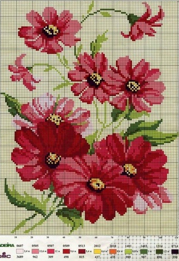 Cross stitch - flowers: Red flowers (free pattern - chart)
