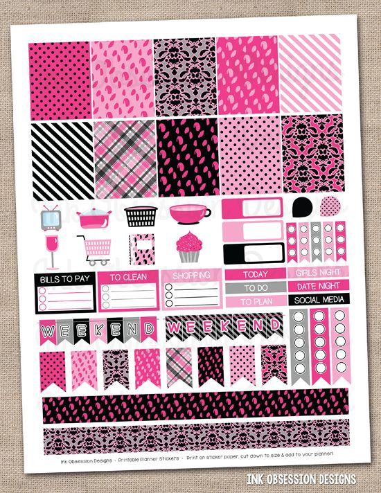 Girls Night Out Pink & Black Printable Planner Stickers ...