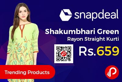 Snapdeal #Trending Products is offering 70% off on Shakumbhari Green Rayon Straight Kurti at Rs.659 Only. Poly Rayon fabric, Long 3/4th Sleeves, Round Neck.  http://www.paisebachaoindia.com/shakumbhari-green-rayon-straight-kurti-at-rs-659-only-snapdeal/