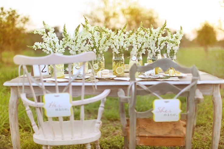 Love the lemons in the mason jars. And the signs are so cute! Sweetheart table cuteness!