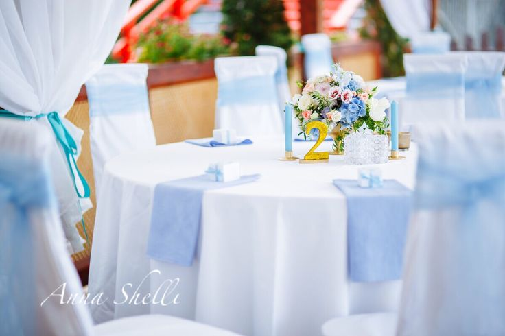 Оформление праздничного стола  Декор свадебного стола  Стол гостей Оформление стола гостей Свадебный декор  Оформление свадьбы в голубых тонах от Anna Shelli