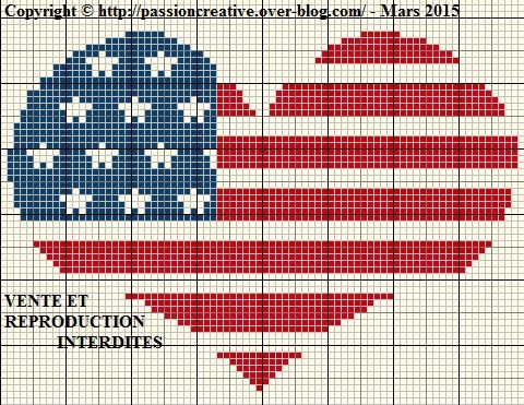 Grille gratuite point de croix : Coeur Américain - Le blog de Isabelle
