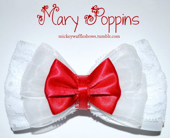 This medium sized (4 inches across, 3 inches tall) hair bow is inspired by the lovely Mary Poppins. This accessory has lace detail.    Choose your