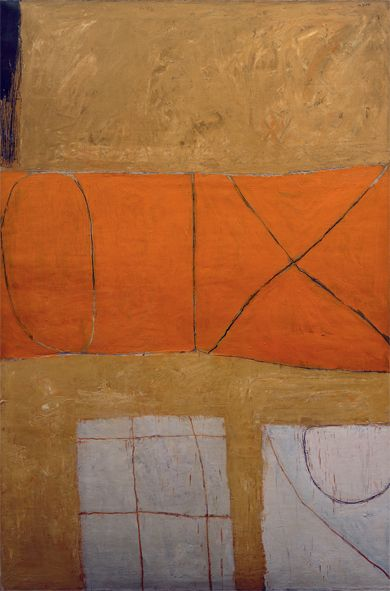 William Scott, Signs Orange and Ochre, 1962, Oil on canvas, 183.2 × 122.3 cm / 72 × 48¼ in, Private collection