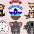 Happy Mother's Day! This set includes polar bears, koala bears, kangaroos, elephants, birds, monkeys (and pigs -- not pictured) celebrating the bon...