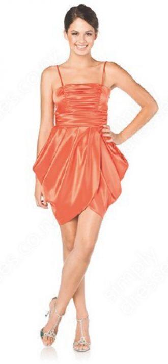 Sheath/Column Spaghetti Straps Satin Short/Mini Orange Ruffles Prom Dress