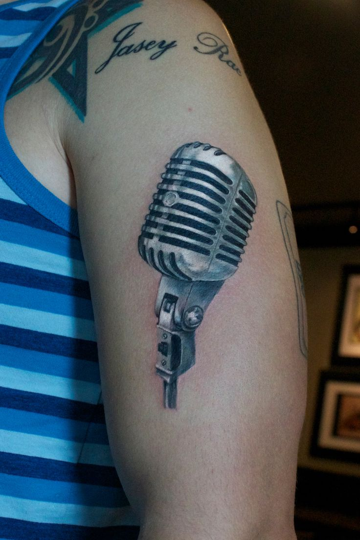 Brush realistic 3D microphone (mic) tattoo by Monte Livingston at Living Art Gallery Tattoo Lounge in San Clemente, Ca. www.sclivingartgallery.com