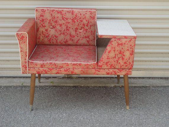 50's Telephone Gossip Bench Chair Atomic Retro Red