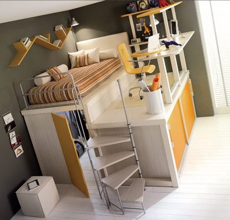 Great space saving room project for small spaces  not sure about the desk up high for kids, but I like the idea of a bedroom in such a small space. Everything you need fits in a 10 x 10 space!  My boys would love this!!