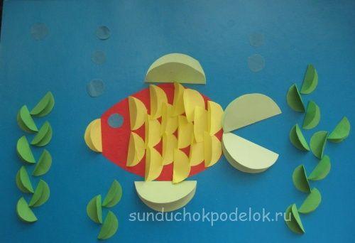 vis knutselen met kleuters / folded paper fish