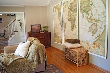 The couple made the large map hangings by gluing a map mural onto plywood with two-part epoxy. You can show your children where things are happening when reading a book or watching tv.  Eden Prairie Home - eclectic - living room - minneapolis - Wind and Willow Home