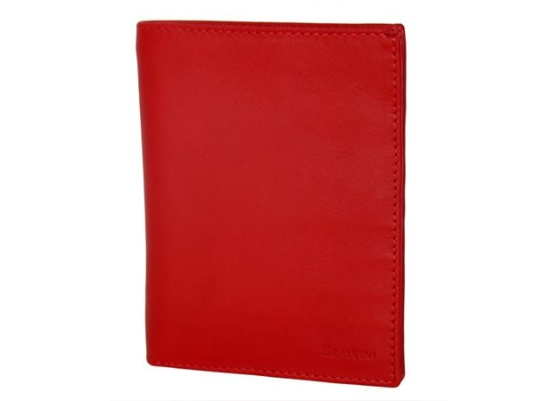 Credit card holder in calfskin with space for bank-notes flame red
