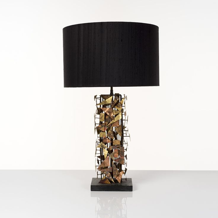 Silas Seandel (né En 1937) Lampe Métal, Cuivre Et Laiton Signée Pièce Unique