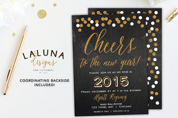 New Years Eve Invitation, New Years Eve Party, New Years Eve Invites, New Years Invites, New Years Eve Printable, Cheers to the New Year