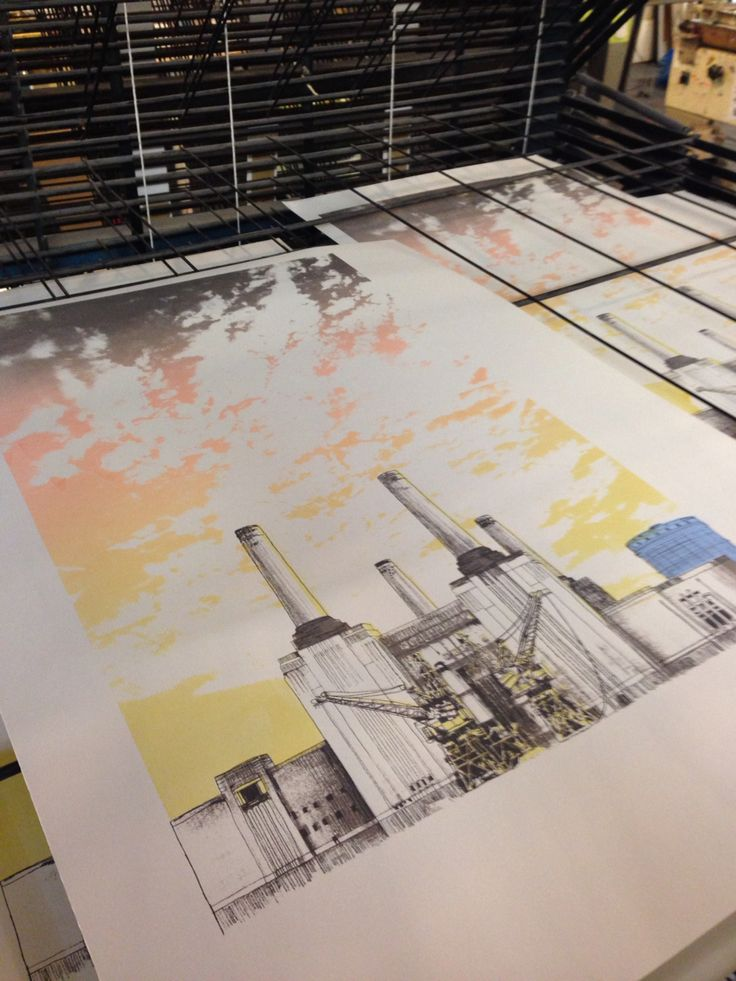 Battersea Power station print on the drying rack