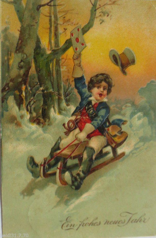 """""""Neujahr, Kinder, Postbote, Horn, Schlitten, Brief"""" 1910, Prägekarte ♥ (10334)   eBay"""