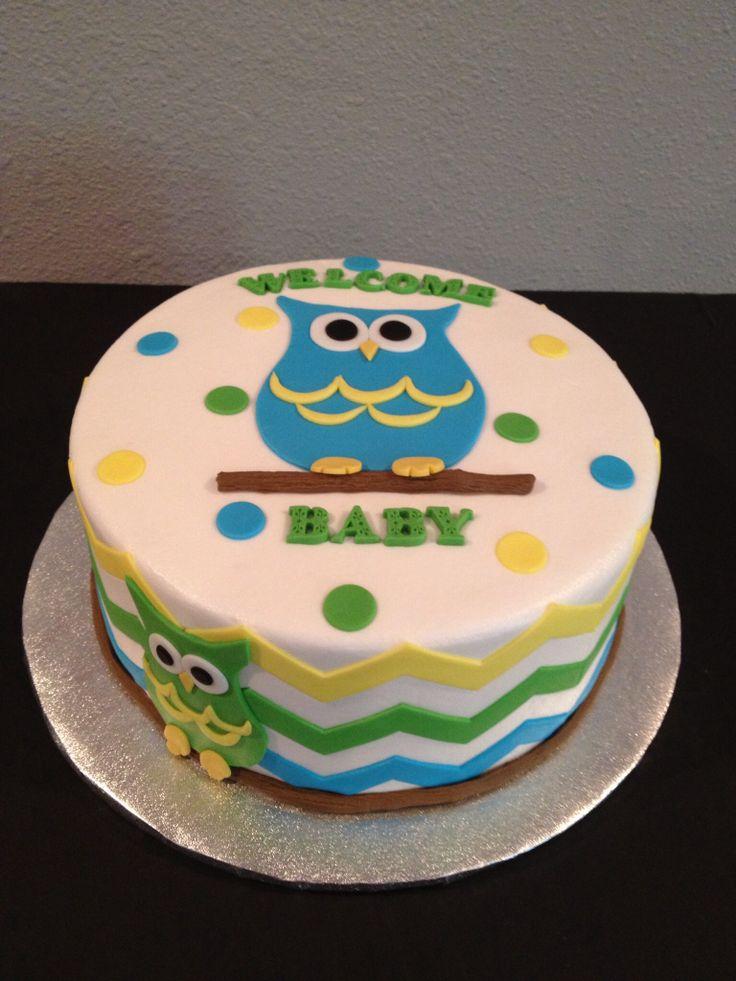 Owls and chevron cake made by Teresa Lynn cakes LLC