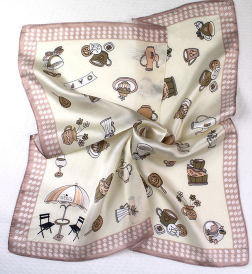 "20"" Small Square 100% Silk Scarf Women Neckerchief Shawl Wraps Beige  Xf33127-Y"