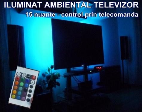 Set de lumini multicolore pentru iluminat in spatele televizorului, 15 nuante care pot fi schimbate prin telecomanda, asigura un ambient spectaculos, reduc din senzatia de oboseala creata de privitul la tv pe intuneric, au un consum redus de energie si durabilitate indelungata, peste 50.000 ore de functionare.