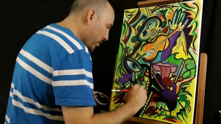 Live Painting with RAEART ELECTRIFY YOUR SENSES Acrylics on Canvas